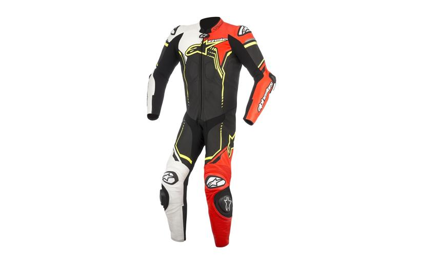 TUTA ALPINESTARS GP PLUS V2 RACE SUIT PELLE INTERA PISTA NERO BIANCO GIALLO BLACK WHITE YELLOW FLUO